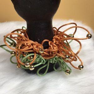 vintage hair ties - green & orange crazy
